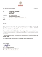 OHSAS 18001 recognition certificate, issued by Bureau Veritas, Qatar, on July 2011.