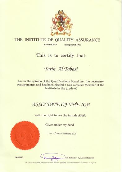 AIQA certificate, issued by the Institute of Quality Assurance, UK, on Feb. 2006.
