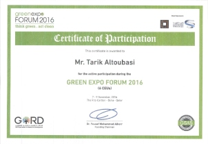 Green Expo Forum Certificate, issued by GORD, Qatar, on Nov. 2016.