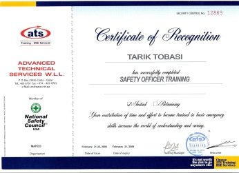 Safety Officer Training Certificate, issued by ATS, Qatar, on Feb. 2006.