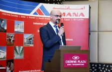 Throwing a speech on Staff Seniority Awards Ceremony, AMANA Qatar Contracting, Qatar, on June 2014